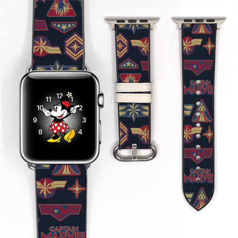 Disney Captain Marvel super heroes Inspired 38 40 42 44 mm Soft Silicon Sport Strap Apple Watch Band -v834