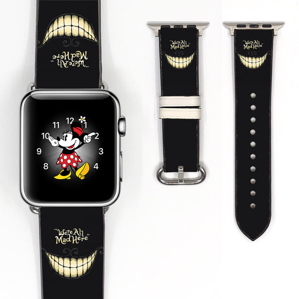 Disney Alice in the Wonderland cheshire cat Inspired 38 40 42 44 mm Soft Silicon Sport Strap Apple Watch Band -v566