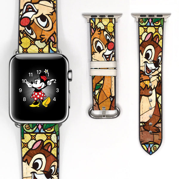 Mosaic Disney Chip and Dale Inspired 38 40 42 44 mm Soft Silicon Sport Strap Apple Watch Band -v456