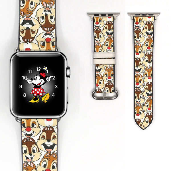 Disney Chip and Dale Inspired 38 40 42 44 mm Soft Silicon Sport Strap Apple Watch Band -v565