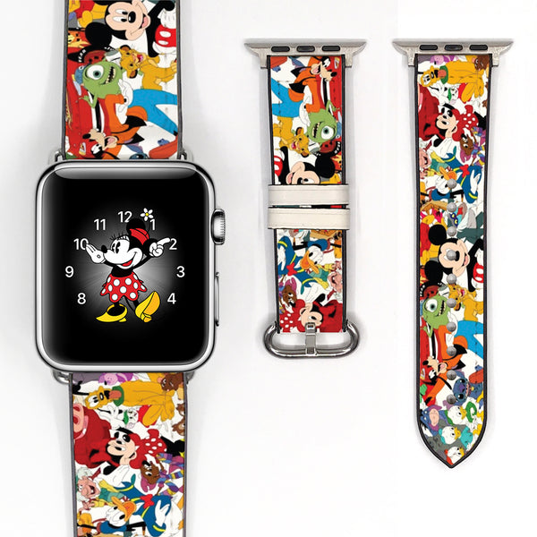 Disney Mickey Mouse and Friend Inspired 38 40 42 44 mm Soft Silicon Sport Strap Apple Watch Band -v77