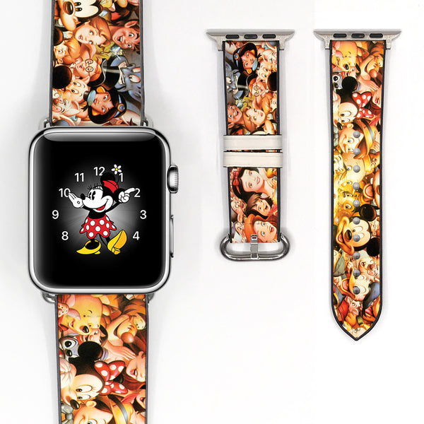 Disney Mickey Mouse and Friend Inspired 38 40 42 44 mm Soft Silicon Sport Strap Apple Watch Band -v450