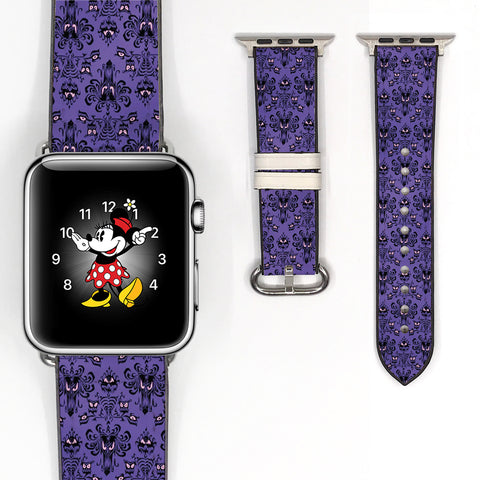 Disney Haunted mansion Inspired 38 40 42 44 mm Soft Silicon Sport Strap Apple Watch Band purple damask pattern -v568