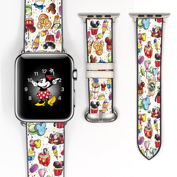 Disney Theme Park Sweet Treats dooney bourke style Mickey Mouse Red Black Inspired Apple Watch band for 38mm / 40mm, 42mm / 44mm