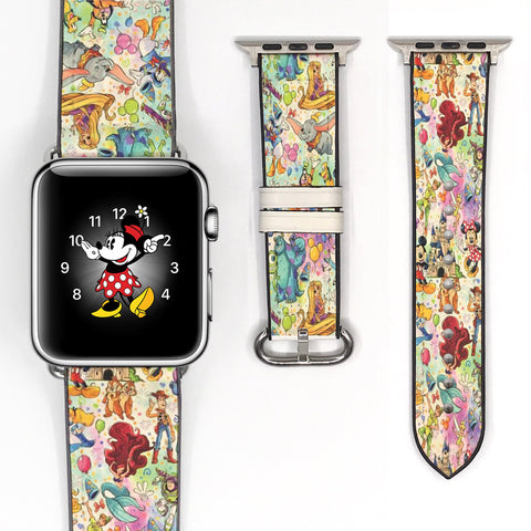 Disney Theme Park Attractions dooney bourke style Mickey Mouse Red Black Inspired Apple Watch band for 38mm / 40mm, 42mm / 44mm