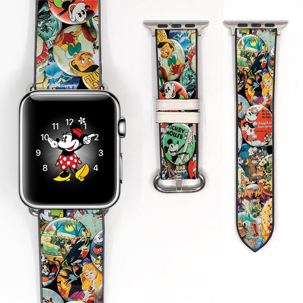 Disney Theme Park Button Pin Mickey Minnie Mouse Inspired 38 40 42 44 mm Soft Silicon Sport Strap Apple Watch Band -v850