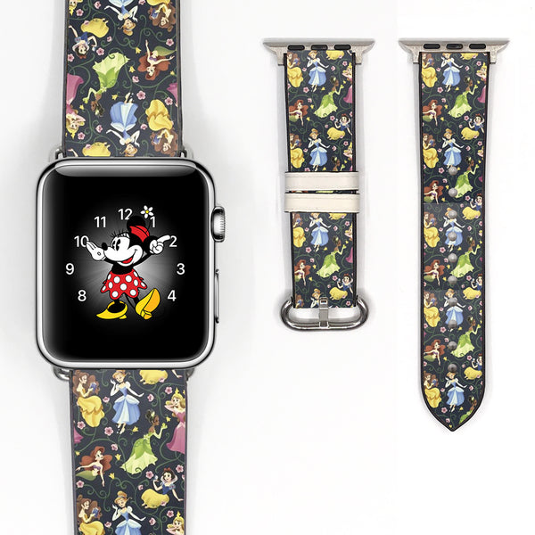 Disney Princess Inspired 38 40 42 44 mm Soft Silicon Sport Strap Apple Watch Band -v591