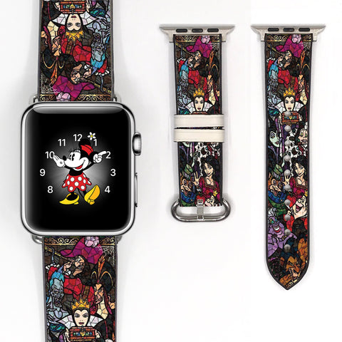 Mosaic Disney Villains Evil Queen Jafar Ursula Cruella De Vil Inspired 38 40 42 44 mm Soft Silicon Sport Strap Apple Watch Band -v152