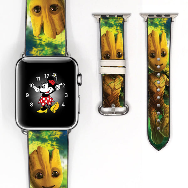 Marvel Cute baby Groot guardians of galaxy Inspired 38 40 42 44 mm Soft Silicon Sport Strap Apple Watch Band -v658