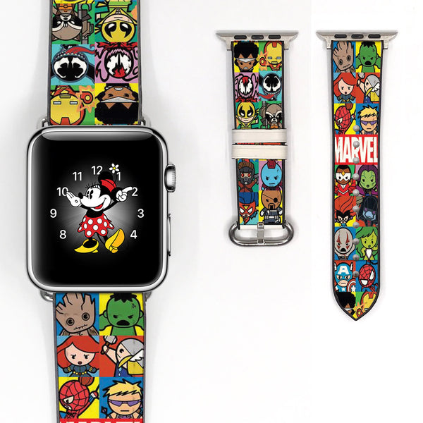 Disney Marvel avengers super heros Inspired 38 40 42 44 mm Soft Silicon Sport Strap Apple Watch Band -v705