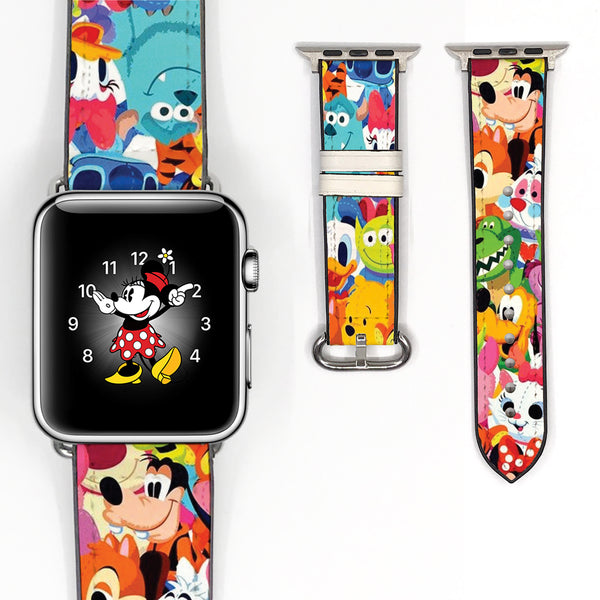 Disney Mickey Mouse and Friend Inspired 38 40 42 44 mm Soft Silicon Sport Strap Apple Watch Band -v8