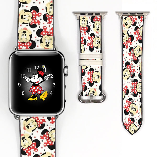Disney Minnie Mouse Inspired 38 40 42 44 mm Soft Silicon Sport Strap Apple Watch Band -v91