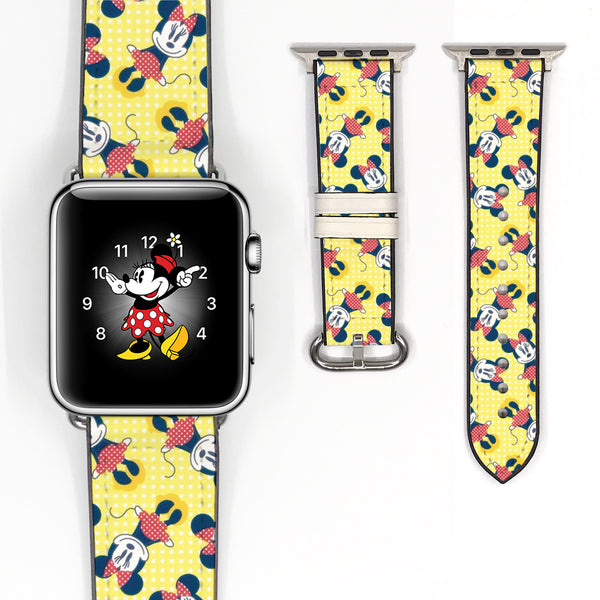 Disney Minnie Mouse Inspired 38 40 42 44 mm Soft Silicon Sport Strap Apple Watch Band Yellow -v86