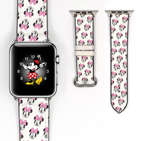 Disney Minnie Mouse Inspired 38 40 42 44 mm Soft Silicon Sport Strap Apple Watch Band white -v515