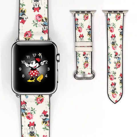 Vintage Minnie Mouse Inspired 38 40 42 44 mm Soft Silicon Sport Strap Apple Watch Band Rose Floral Flower style -v114