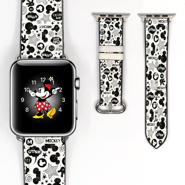 Disney Mickey Minnie Inspired 38 40 42 44 mm Soft Silicon Sport Strap Apple Watch Band white black -v2