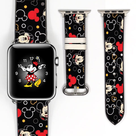 Disney Mickey Mouse Inspired 38 40 42 44 mm Soft Silicon Sport Strap Apple Watch Band Black -v6