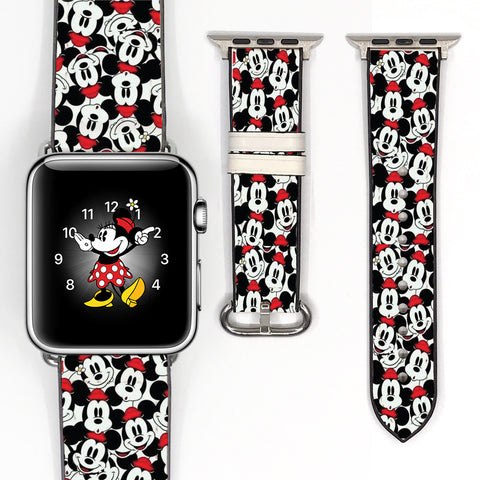 Disney Mickey Mouse Inspired 38 40 42 44 mm Soft Silicon Sport Strap Apple Watch Band Black Red -v91