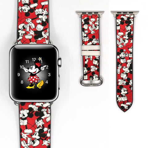 Disney Mickey Mouse Inspired 38 40 42 44 mm Soft Silicon Sport Strap Apple Watch Band Vintage Style -v686
