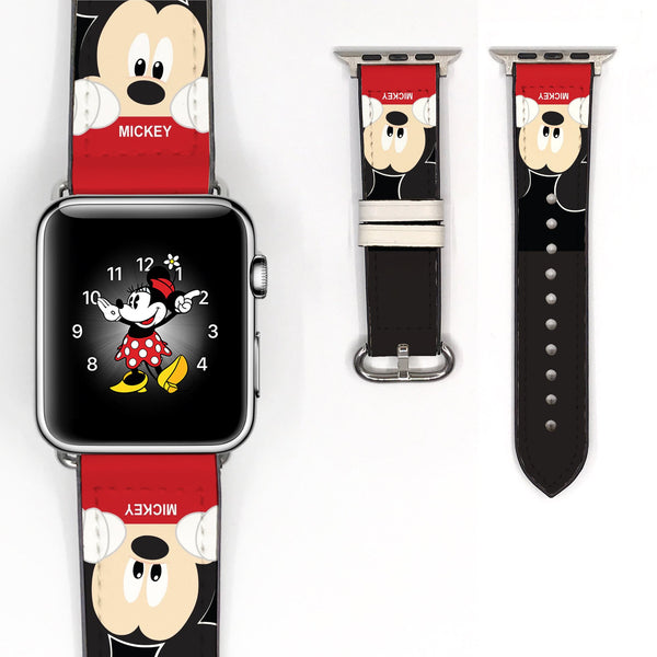 Disney Mickey Mouse Inspired 38 40 42 44 mm Soft Silicon Sport Strap Apple Watch Band -v101