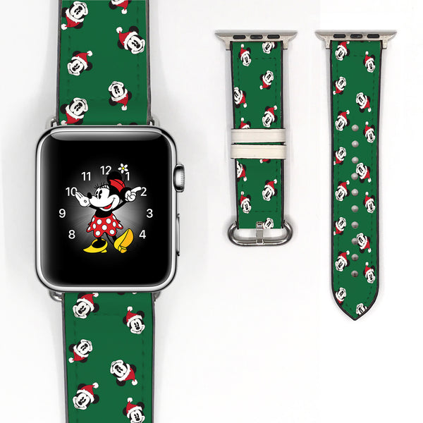 Disney Mickey Mouse Christmas Inspired 38 40 42 44 mm Soft Silicon Sport Strap Apple Watch Band -v867