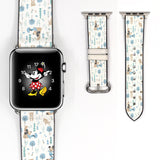 Disney Mickey Mouse Hand Inspired 38 40 42 44 mm Soft Silicon Sport Strap Apple Watch Band Blue White -v869