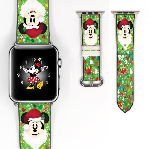 Disney Mickey Mouse Christmas Inspired 38 40 42 44 mm Soft Silicon Sport Strap Apple Watch Band -v872