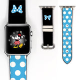 Disney Minnie Mouse Blue polka dot bow Inspired 38 40 42 44 mm Soft Silicon Sport Strap Apple Watch Band -v69