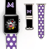 Disney Minnie Mouse Purple polka dot bow Inspired 38 40 42 44 mm Soft Silicon Sport Strap Apple Watch Band -v69