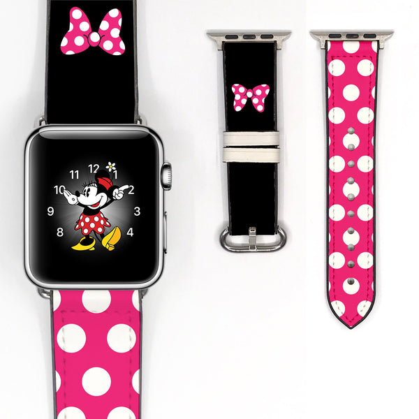 Disney Minnie Mouse Pink polka dot bow Inspired 38 40 42 44 mm Soft Silicon Sport Strap Apple Watch Band -v69