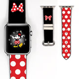 Disney Minnie Mouse Red polka dot bow Inspired 38 40 42 44 mm Soft Silicon Sport Strap Apple Watch Band -v69