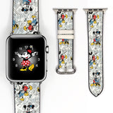 Disney Mickey Minnie Inspired 38 40 42 44 mm Soft Silicon Sport Strap Apple Watch Band vintage white -v7