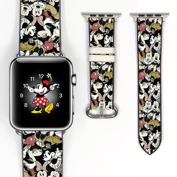 Disney Mickey Mouse Inspired 38 40 42 44 mm Soft Silicon Sport Strap Apple Watch Band vintage style -v089