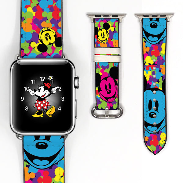 Disney Mickey Mouse Inspired 38 40 42 44 mm Soft Silicon Sport Strap Apple Watch Band Vintage Style -v13