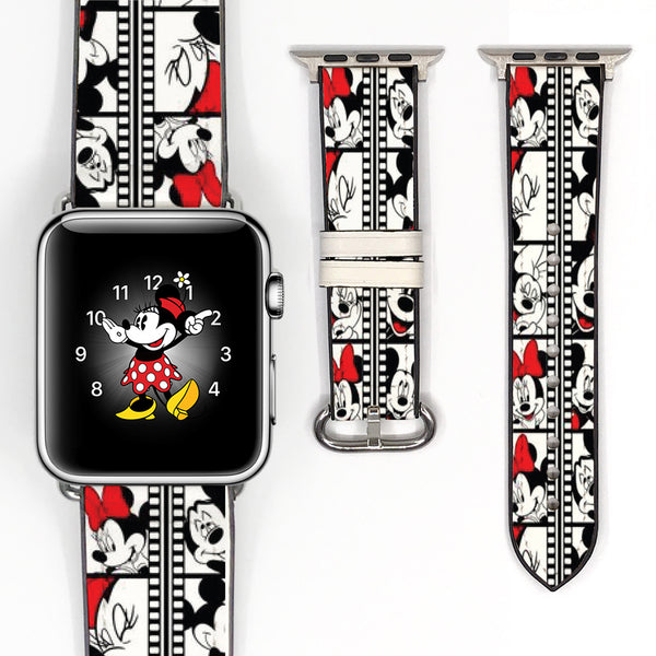 Disney Mickey Minnie Mouse Inspired 38 40 42 44 mm Soft Silicon Sport Strap Apple Watch Band -v97