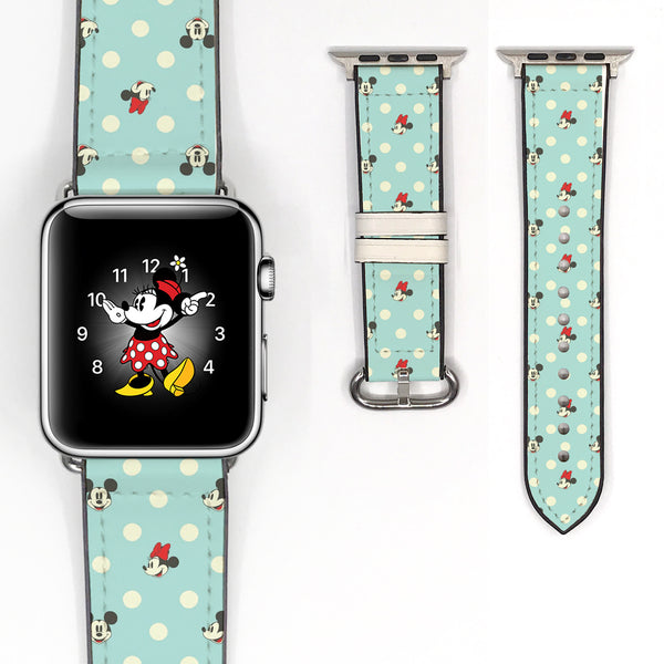Disney Mickey Minnie Mouse Inspired 38 40 42 44 mm Soft Silicon Sport Strap Apple Watch Band Teal -v445