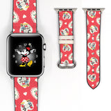 Disney Mickey Minnie Mouse Love Floral Flower Inspired 38 40 42 44 mm Soft Silicon Sport Strap Apple Watch Band -v446