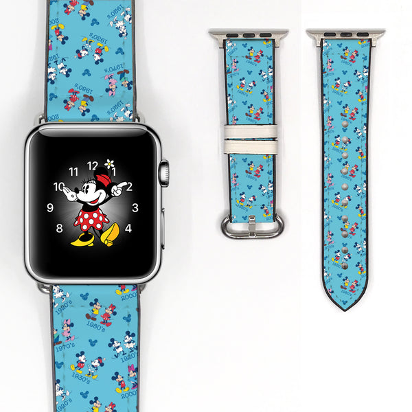 Disney Vintage Mickey Minnie Mouse Inspired 38 40 42 44 mm Soft Silicon Sport Strap Apple Watch Band -v523