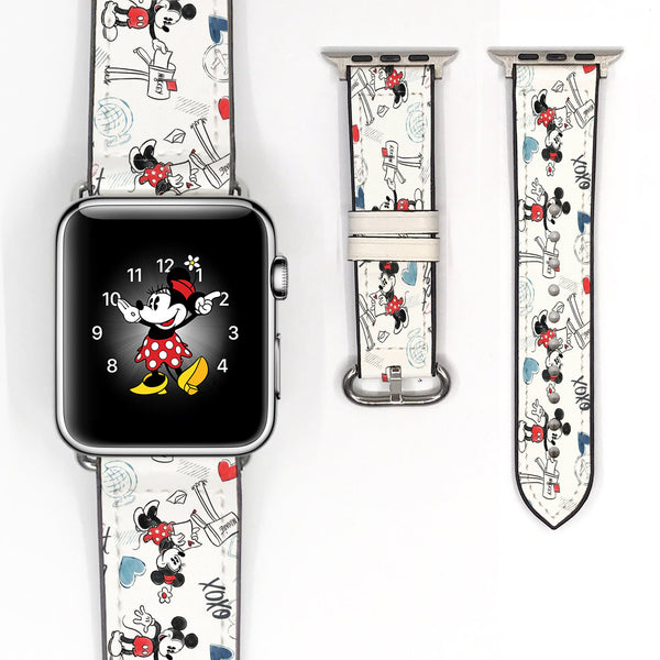Disney Theme Park Mickey Mouse Inspired Love Letter 38 40 42 44 mm Soft Silicon Sport Strap Apple Watch Band -v654
