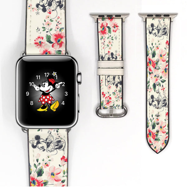 Disney Mickey Minnie Mouse Love Floral Flower Inspired 38 40 42 44 mm Soft Silicon Sport Strap Apple Watch Band -v550