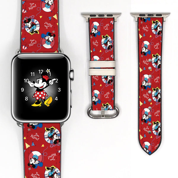 Disney Minnie Mouse Inspired 38 40 42 44 mm Red Soft Silicon Sport Strap Apple Watch Band Pink -v855