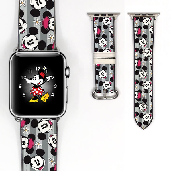 Disney Mickey Minnie Mouse Inspired 38 40 42 44 mm Soft Silicon Sport Strap Apple Watch Band -v102