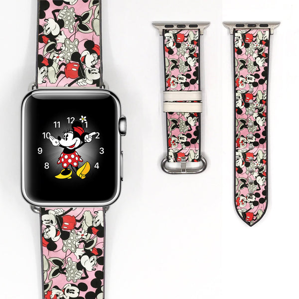 Disney Minnie Love Mickey Mouse Inspired 38 40 42 44 mm Soft Silicon Sport Strap Apple Watch Band -v402
