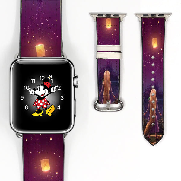 Disney Princess Rapunzel Tangled Inspired 38 40 42 44 mm Soft Silicon Sport Strap Apple Watch Band -v164