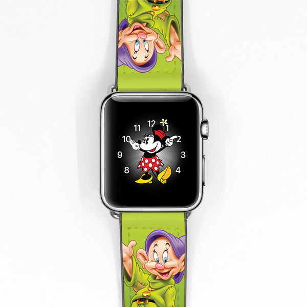 Disney Snow White seven dwarfs Dopey Inspired 38 40 42 44 mm Soft Silicon Sport Strap Apple Watch Band -v660