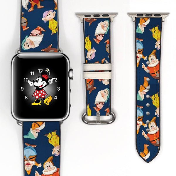 Disney Snow White seven dwarfs Inspired 38 40 42 44 mm Soft Silicon Sport Strap Apple Watch Band -v703