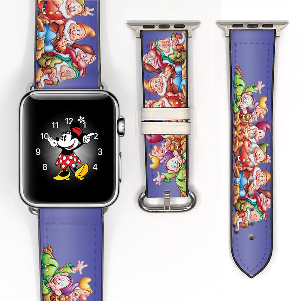 Disney Snow White seven dwarfs Inspired 38 40 42 44 mm Soft Silicon Sport Strap Apple Watch Band -v603