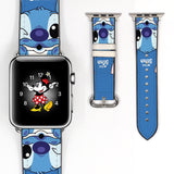 Disney lilo and stitch Inspired 38 40 42 44 mm Soft Silicon Sport Strap Apple Watch Band Blue -v20
