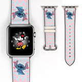 Disney lilo and stitch Inspired 38 40 42 44 mm Soft Silicon Sport Strap Apple Watch Band Blue -v9