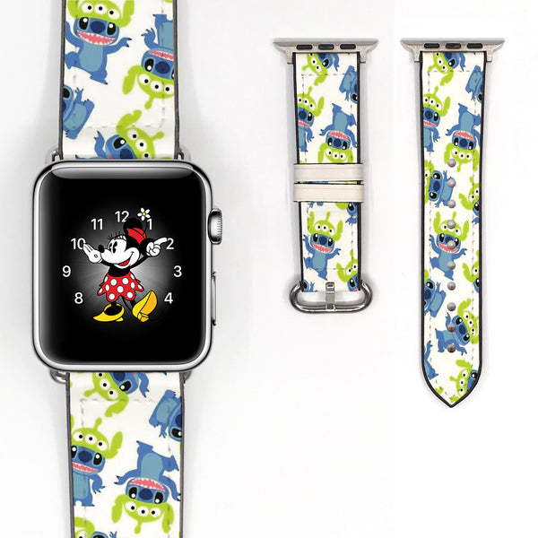 Disney stitch aliens Inspired 38 40 42 44 mm Soft Silicon Sport Strap Apple Watch Band Blue -v108